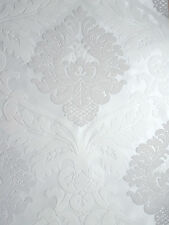 WOW! Bling Bling Bianco e Argento Glitter Damascata con texture Carta da parati