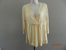 Women's NEW YORK & COMPANY Butter Yellow Blouse Top Shirt size L LARGE Tunic EUC