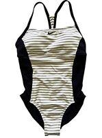 NWT Nike One Piece Swimsuit Racerback Yellow Striped Black Gray SU27567 Size L
