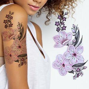 Realistic Pink Flower Ladies Girl Stick on Body Transfer Women Temporary Tattoo