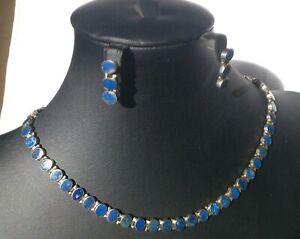 vintage 950 silver & lapis lazuli necklace & earrings