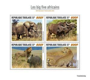 Togo Wild Animals Stamps 2020 MNH Big Five Elephants Leopards Lions Fauna 4v M/S