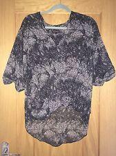 NEW Topshop Black Oversize Animal Leopard Print Crossover Drape Top UK 8 RRP £30