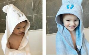 Baby Personalised Hooded Bath Towel Ears Shower Announcement White Blue Pink