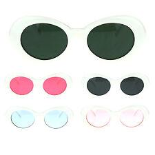 Womens White Plastic Gothic Vintage Cat Eye Mod Color Lens Sunglasses