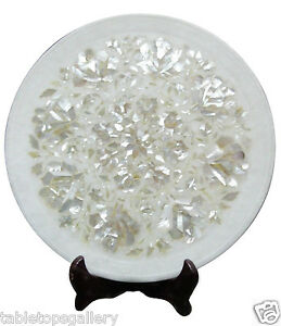 """12""""x12"""" Marble Handicraft Dish Plate Real Mother of Pearl Inlay Decor Gift H1942"""
