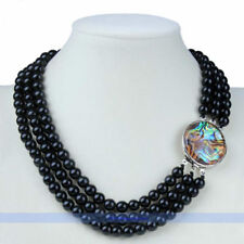 "Beautiful 17-20"" 3Rows 8mm Round Obsidian Bead Gemstone Necklace 