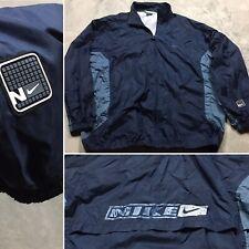 NIKE 90s VTG Windbreaker XXL Jacket Windrunner SPELL OUT Logo Navy Running OG