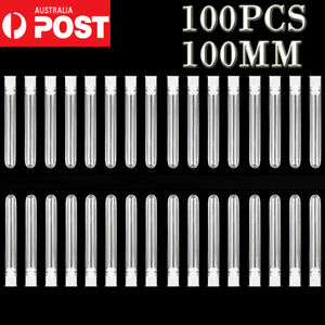 100PC Clear Plastic Test Tubes Set Sample Containers Vials Push Caps 12*100MM