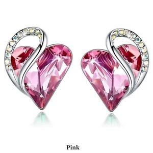 Simple Silver Love Heart Pink Zircon Stud Earring Party Wedding Jewelry Gifts