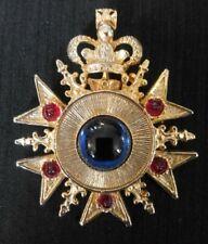Vtg Russian Maltese Goldtone Brooch/Pendant-Crown Blue Jewel-Red Rhinestones-