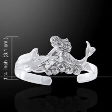 Mermaid Dolphin .925 Sterling Silver Cuff Bracelet by Peter Stone Jewelry