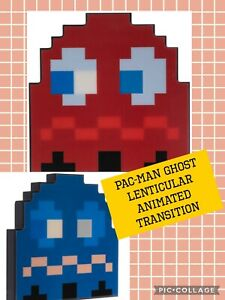Pac-Man Ghost Lenticular Hologram Animated Retro Wall Arcade, Game Decor