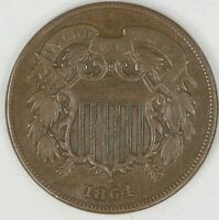 1864 Large Motto Two Cent Piece. AU. RAW39667/UH