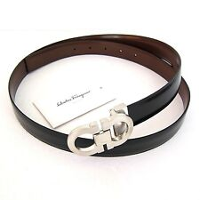 J-3166119 New Salvatore Ferragamo Black Leather Buckle Belt Size 46 Fits 44