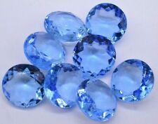 Glass Light Blue Faceted Round Rhinestone 20mm Vintage