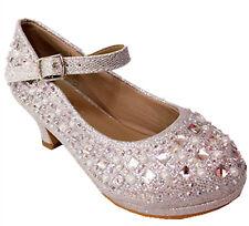 Girl's Youth Cute Pageant Jewel Rhine Stone Mary Jane High Heel Dress Shoes 79k