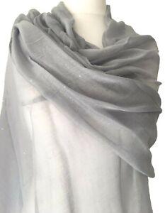 Grey Pashmina Ladies Sparkly Shawl Gold Sparkle Wrap Glitzy Oversized Scarf