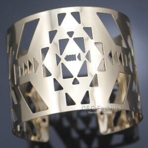 Gold Cut Out Triangle Arrow Cage Warrior Shield Wide Bracelet Bangle Cuff