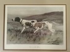 Out on the Moors Two English Setter Dog Steel Engraving George Wright Framed