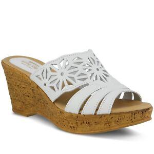 Spring Step Dora Women's White Leather Platform Slide Sandal Euro 40, US 9