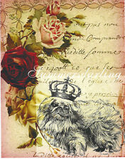 Pekingese Prince Dog On French Papers & Antique Roses Collage*Quilt Fabric Block