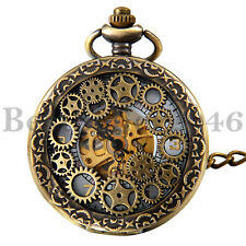 Vintage Hollow Skeleton Hand wind Mechanical Arabic Half-Hunter Pocket Watch Hot