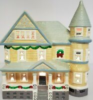 Vintage Yuletide Ceramic Christmas Lighted Victorian Style House 10""