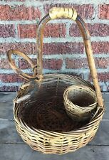 Unique Woven Basket with loop and basket insert - Wine? hors d'oeuvres? Picnic?