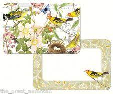 Reversible 4 Set Placemats, BOTANICAL BIRDS, Finch, Butterflies, Flowers USA