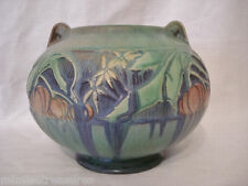 "Roseville Art Pottery Baneda Green 235-5 Bowl Vase 5"" Pumpkin Fruit Blossom"