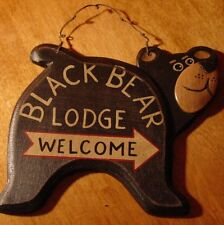 BLACK BEAR LODGE SIGN WELCOME ARROW Rustic Wood Carved Log Cabin Home Wall Decor