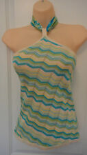Moda International Blue and Green Chevron Knit Scarf-Tie Halter SZ:XS