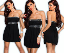 KOUCLA Babydoll Mini Dress Bandeau Dress Balloon Tunic Sequin Party Dress SWS