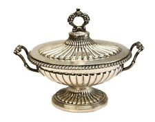 Charles-Auguste Peret French Sterling Silver Footed Sauce Dish with lid, c1860