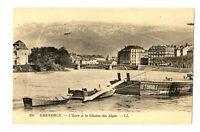CPA 38 Isère Grenoble L'Isère et la Chaîne des Alpes bateaux