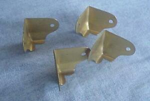 4 Vintage Unused Trunk Corner Trim-Brass Plated Steel-Trunk Hardware