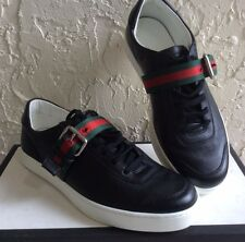 NEW GUCCI Sneakers 407332 A38B0 1060 Premium BLACK Leather size G 8 US 9 $630