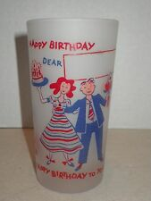Mid Century Mod Vintage Frosted HAPPY BIRTHDAY DEAR ______ Party Drinking Glass