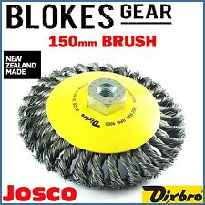 Josco Dixbro Wire Wheel Bevel Cup Brush Knot M14 150mm Angle Grinder MADE IN NZ