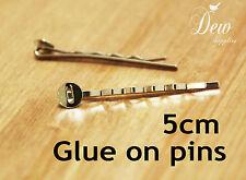 100 x silver bobby pins glue on hair pin
