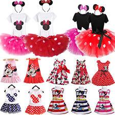 Infantil Infantil Minnie Mouse Fiesta Princesa Falda Vestido con Tutú Disfraz