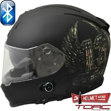 TORC T14B BLUETOOTH FLAT MATTE BLACK FULL FACE MOTORCYCLE HELMET DOT XS - XXL