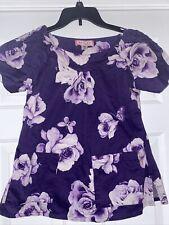 Koi by Kathy Peterson Scrubs Top Sz Xs 100% Cotton Purple flowers butterlies