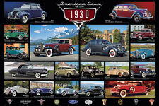 AMERICAN CARS OF THE 1930s 18 Classic Detroit Automobiles Historic WALL POSTER