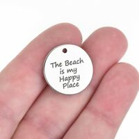 5 Beach Charms, Stainless Steel, The Beach is my Happy Place, 20mm cls0025a