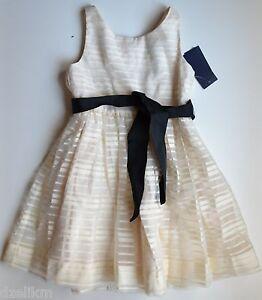 NWT Ralph Lauren Tonal Striped Organza Dress in Cream Size 6