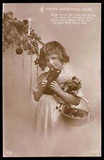 Edwardian 1910s vintage photo postcard xmas christmas tree toy happy