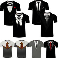 Men's 3D Fake Suit Tie Graphics Print T-Shirt Short Sleeve Summer Casual Tops