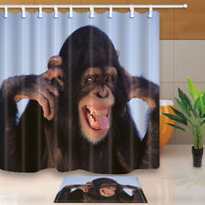 Funny Animal Gorilla Orangutan Fabric Shower Curtain Set With Hooks 71X71Inches